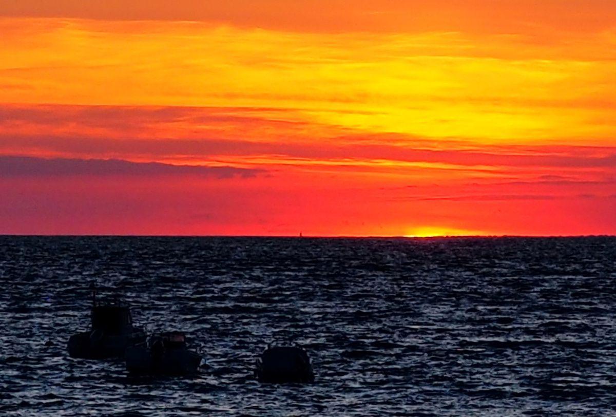 coucher de soleil sur la Prée