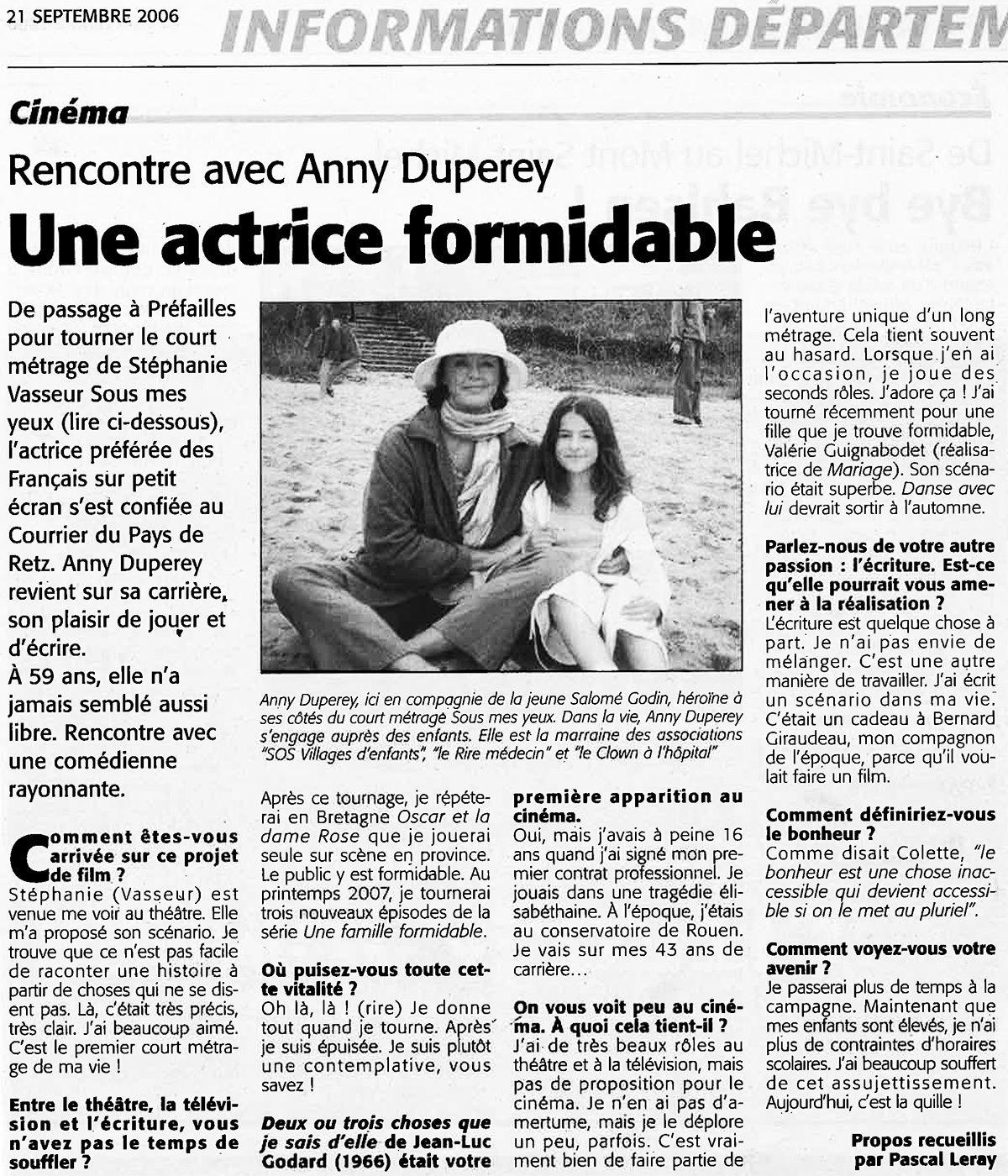"""Chronique de Michel Bordat. Court-métrage """"Sous mes yeux"""" : J'ai passé une heure merveilleuse avec Anny Duperey"""