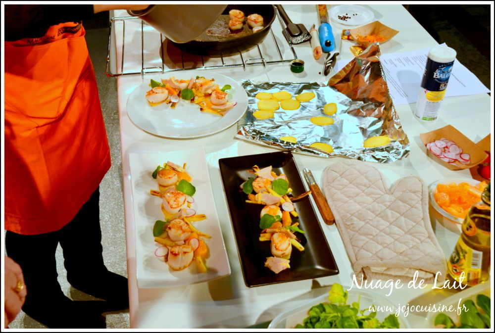 Saint-Jacques au beurre d'orange et foie gras, frites et chips de panais pour le salon du blog culinaire #8