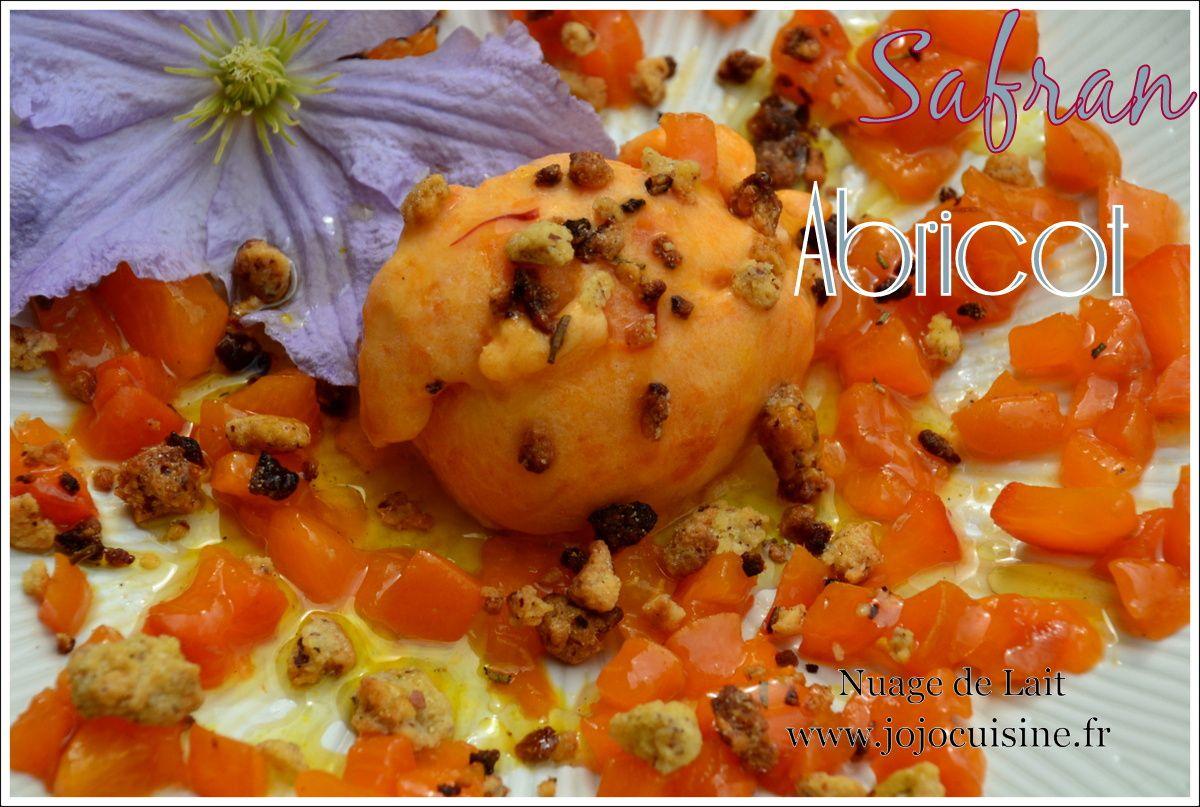 Sorbet Abricot Confit, Tartare d'Abricot à la Vinaigrette de Safran et Crumble