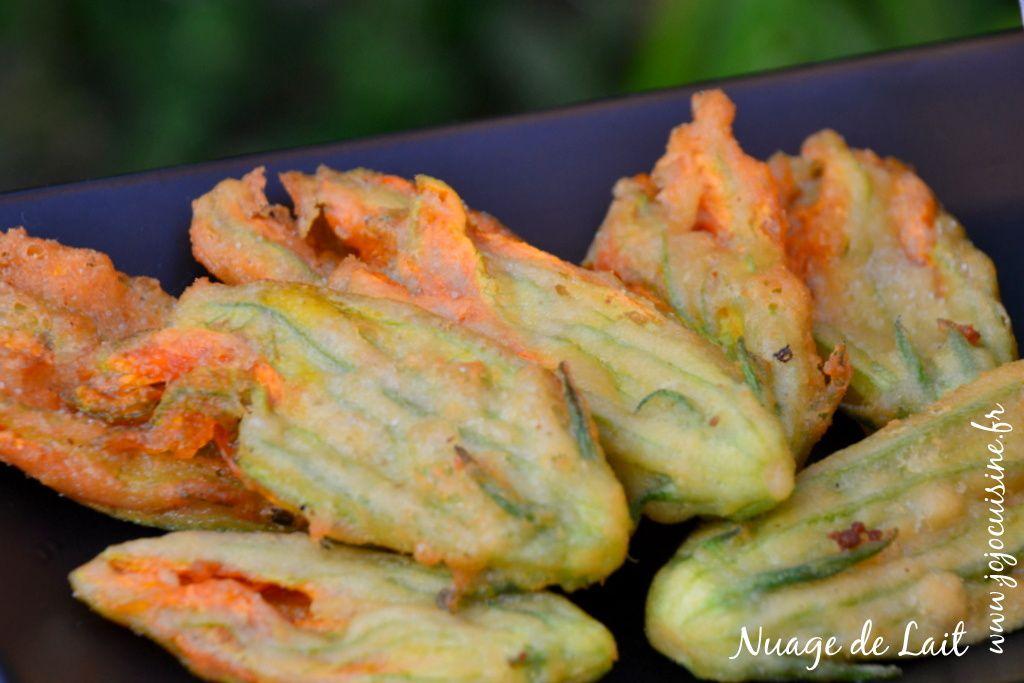 Tempura de Fleurs de Courgettes à la farine de pois chiches (sans oeuf sans gluten)
