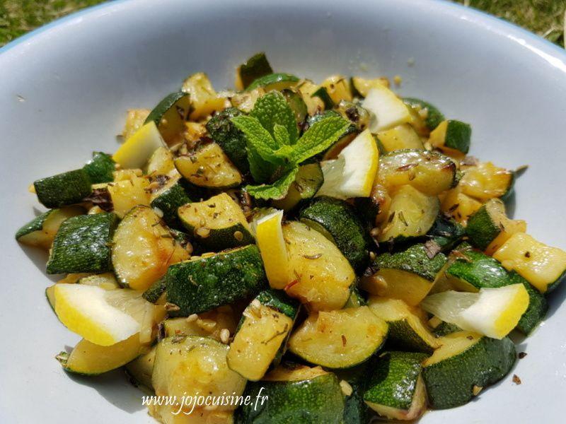 Salade de Courgettes Citron et Menthe, épices Zaatar