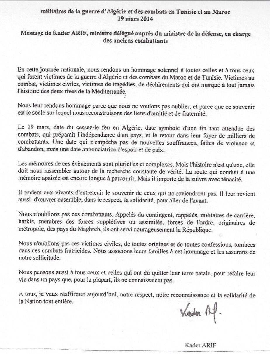 19 mars 1962-19 mars 2014 devoir de souvenir : Algérie, Tunisie, Maroc