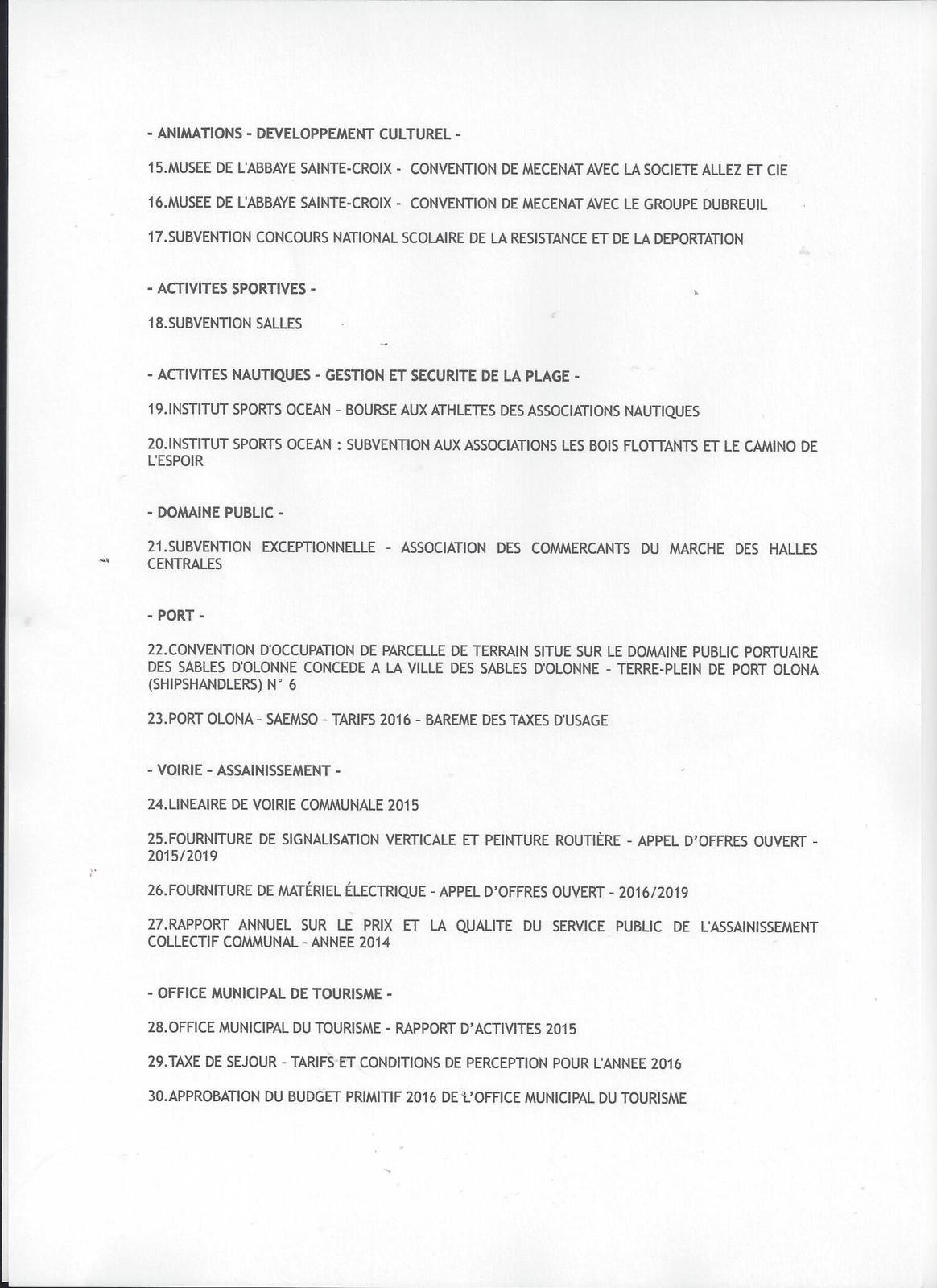 LES SABLES D'OLONNE : CONSEIL MUNICIPAL DU MERCREDI 9 DÉCEMBRE 2015