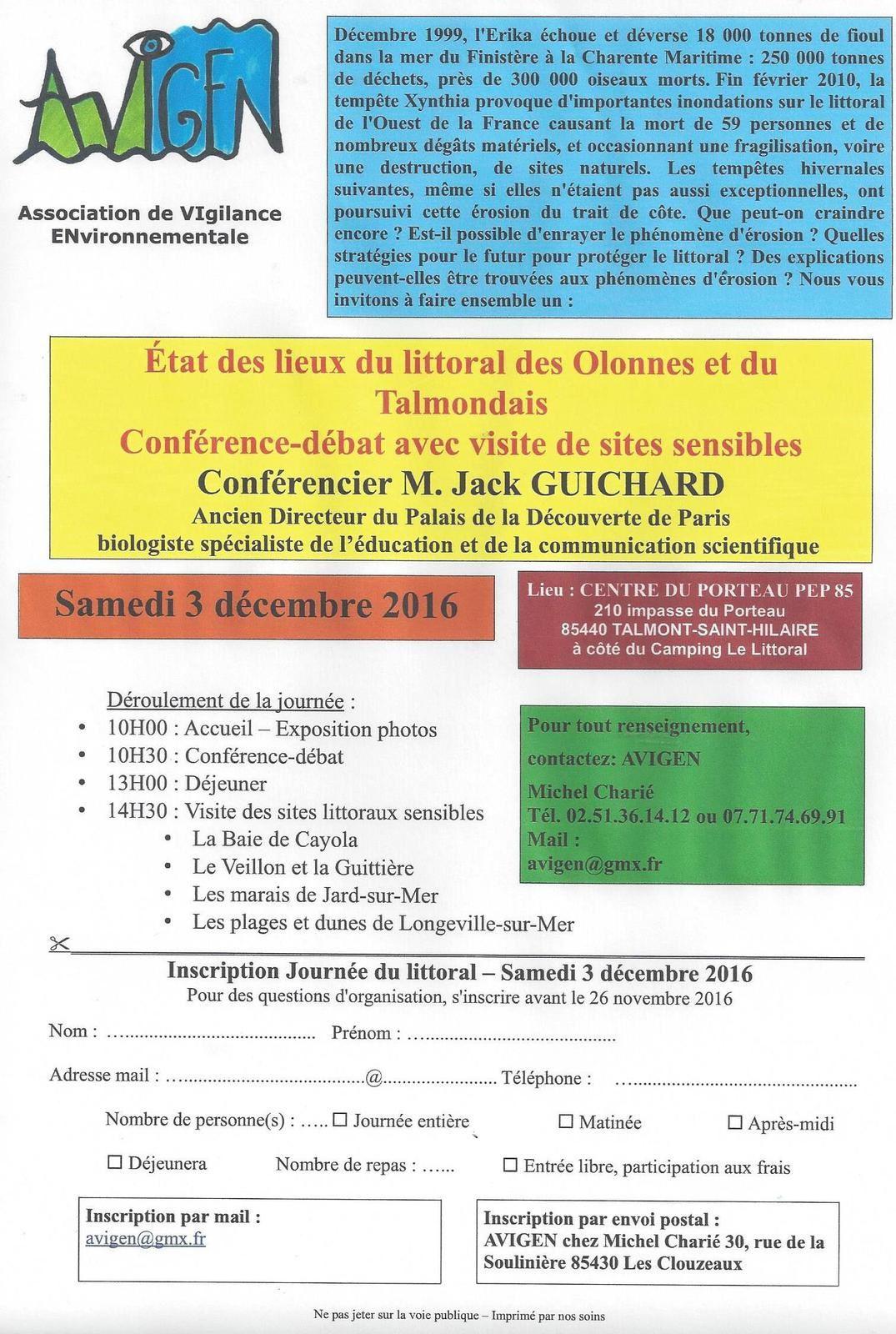 LE LITTORAL VENDÉEN MENACÉ, ÉTAT DES LIEUX, conférence, visites ...le 3 décembre 2016