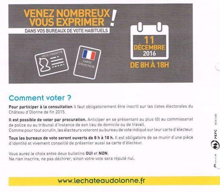 CHÂTEAU D'OLONNE : ON VOTE CE DIMANCHE 11 DÉCEMBRE 2016 : OUi OU NON À LA CRÉATION D'UNE COMMUNE NOUVELLE