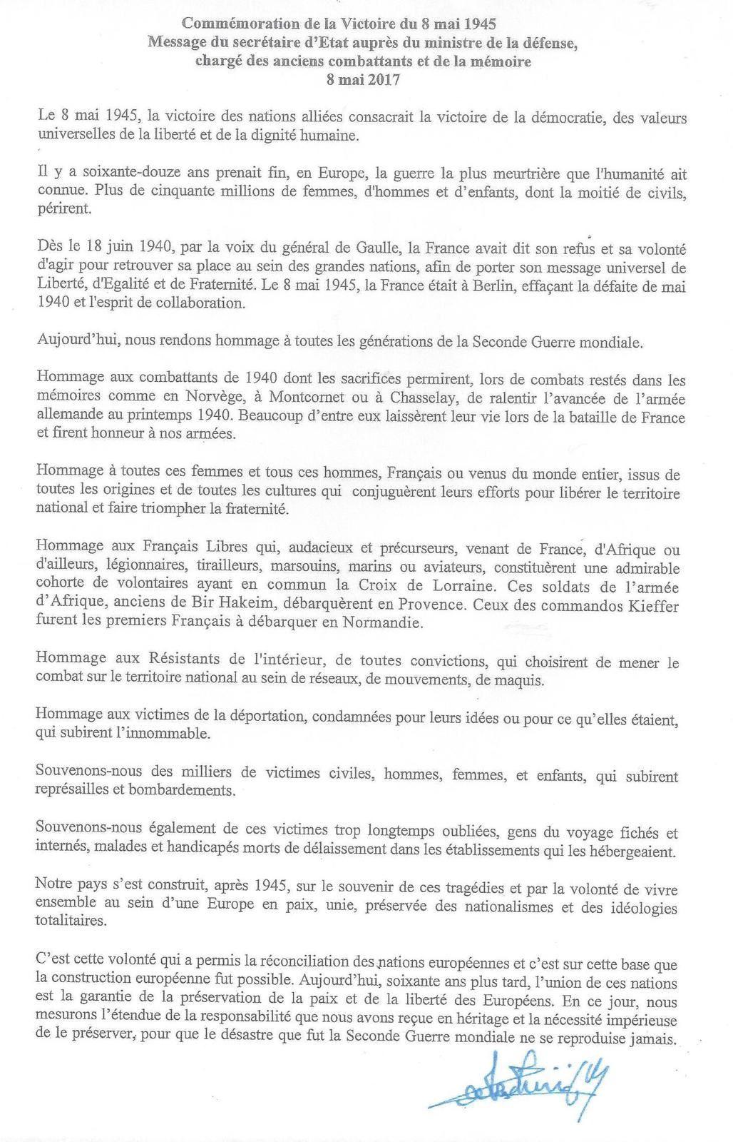 DISCOURS LU PAR JOËL MERCIER MAIRE DE3 CHATEAU D'OLONNE