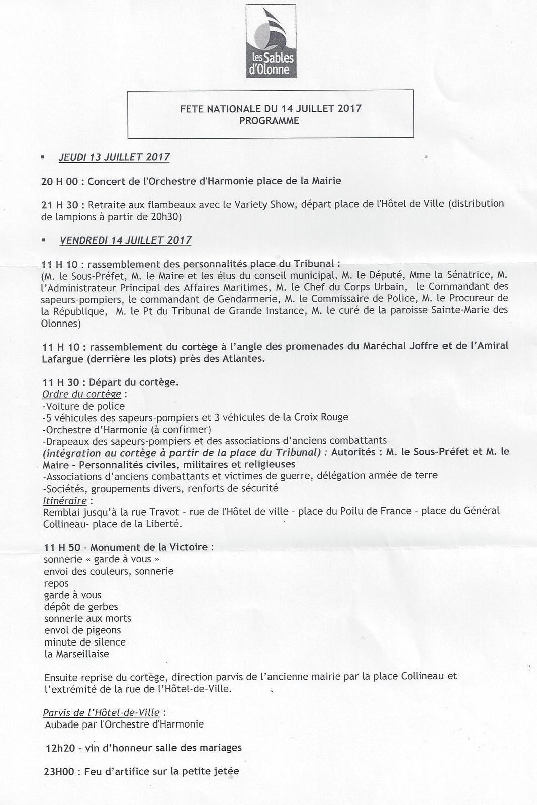 Programme des cérémonies et festivités sablaises