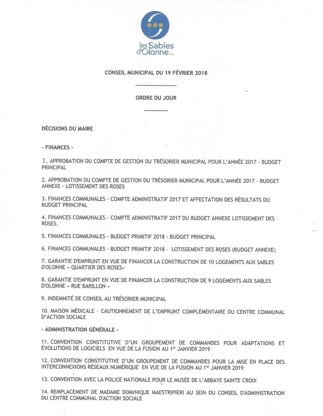 LES SABLES D'OLONNE : conseil municipal du lundi 19 février 2018