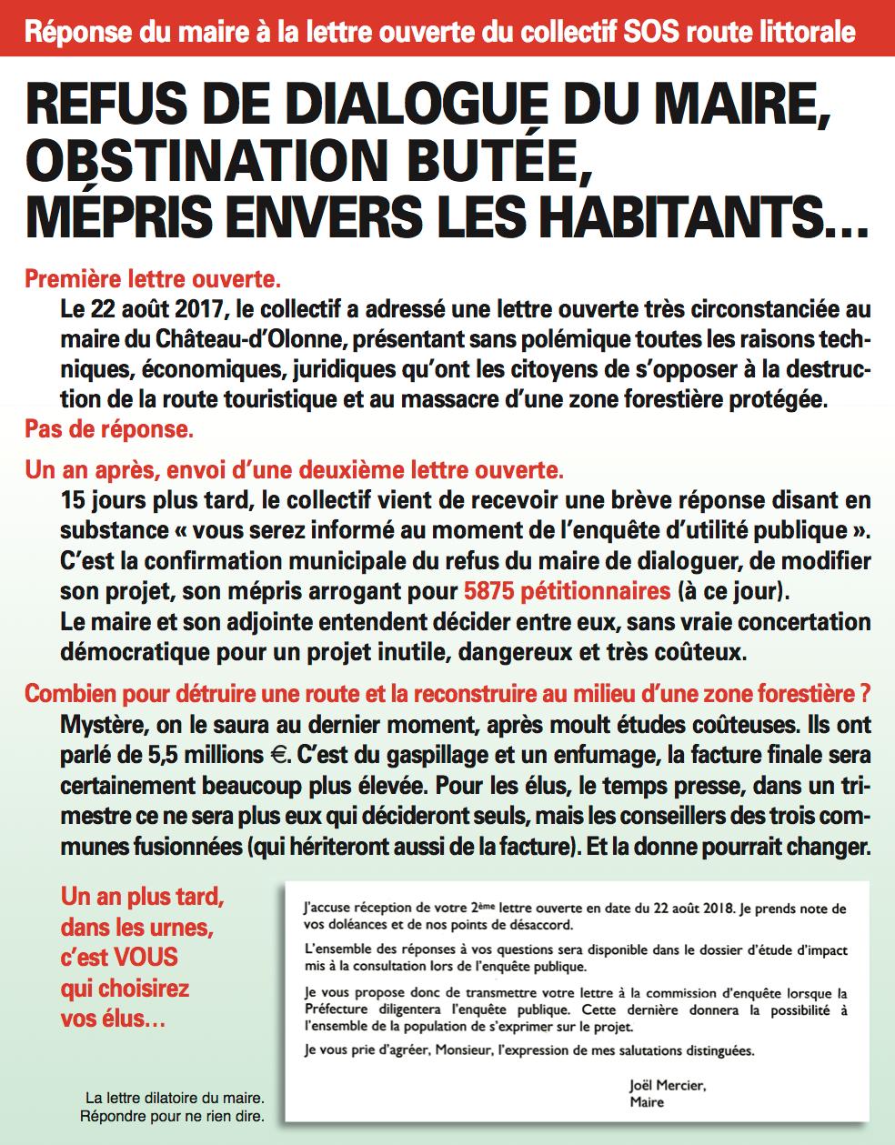 ROUTE LITTORALE À CHÂTEAU D'OLONNE : SA FERMETURE, PROJET DU MAIRE REJETÉ PAR LA POPULATION
