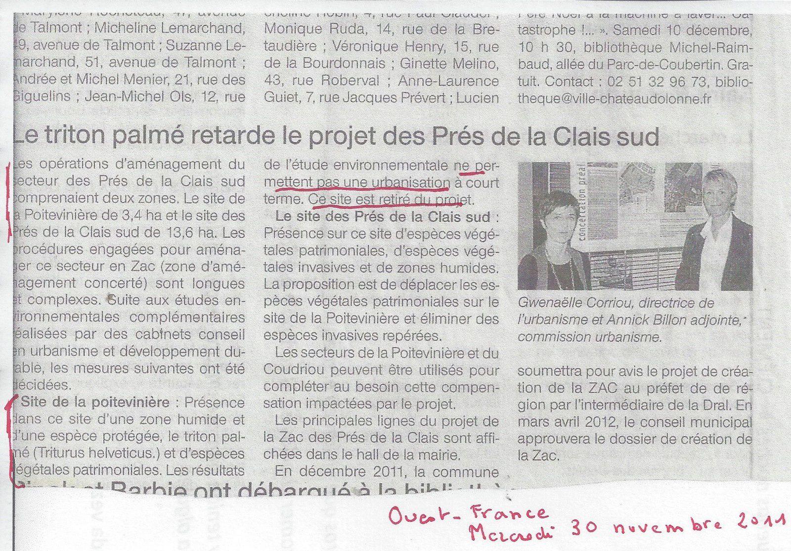 CHÂTEAU D'OLONNE : conseil municipal du lundi 24 septembre 2018