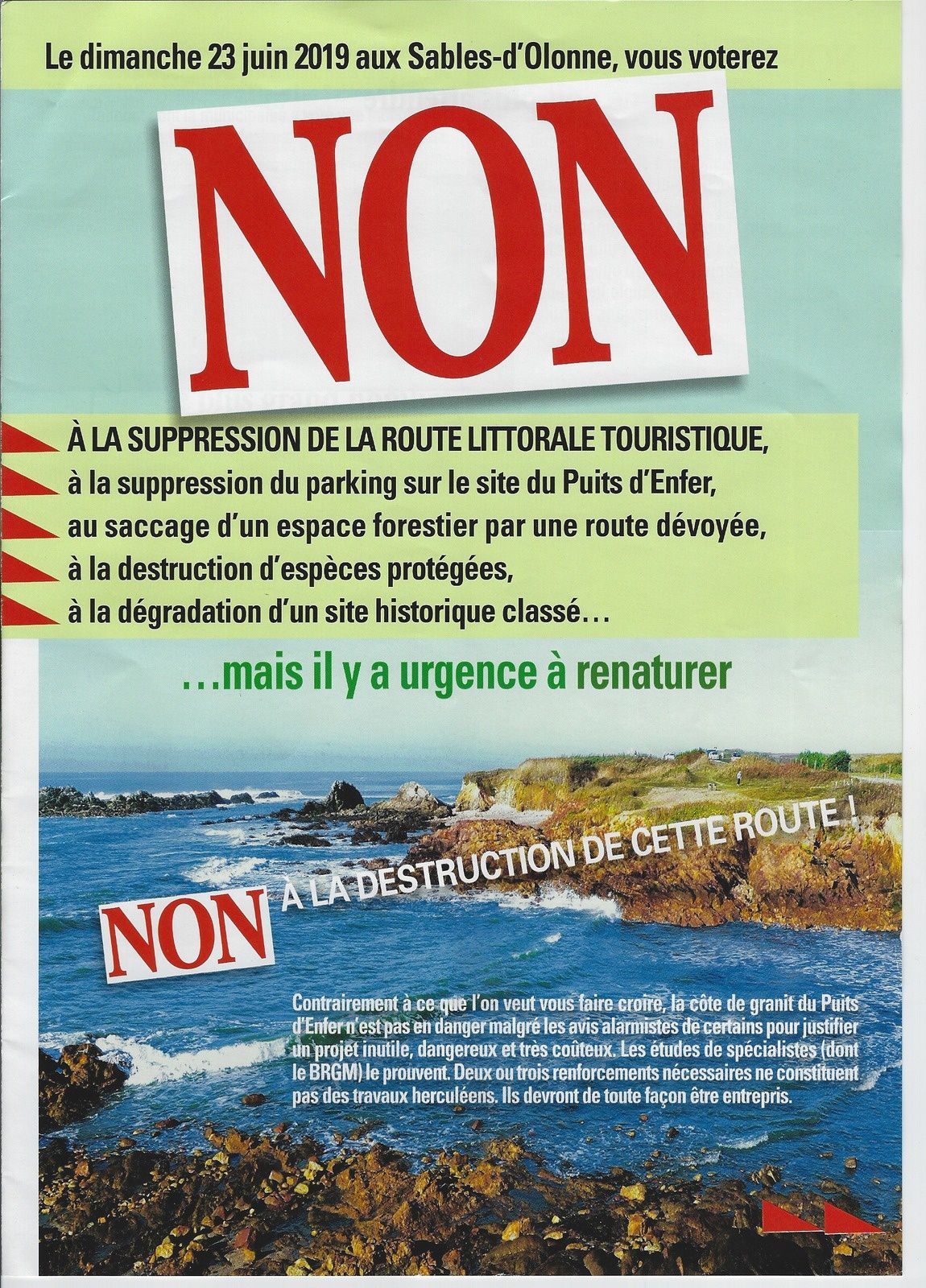 LES SABLES D'OLONNE : LITTORAL DÉVOIEMENT DE LA ROUTE, SUPPRESSION DU PARKING DU PUITS D'ENFER...POURQUOI VOTER NON ?