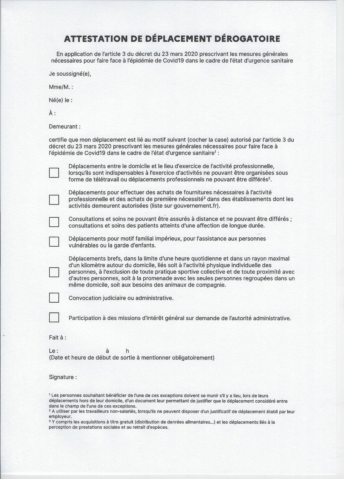 CORONAVIRUS : NOUVELLE ATTESTATION DE DÉPLACEMENT DÉROGATOIRE