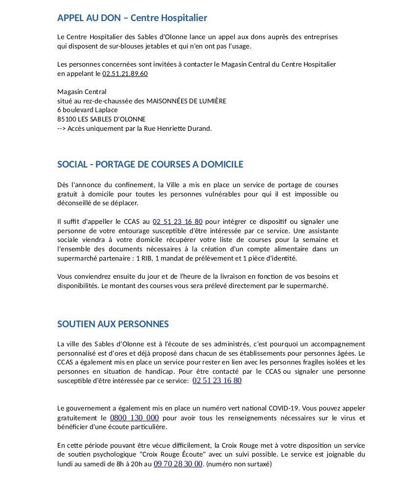 CORONAVIRUS : RAPPELS IMPORTANTS DU MAIRE DES SABLES d'OLONNE
