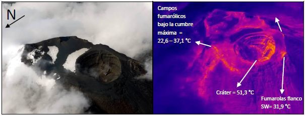 Tungurahua - temperature measurements by the thermal camera and correspondence to images in natural light - photo and thermic image Almeida / IGEPN