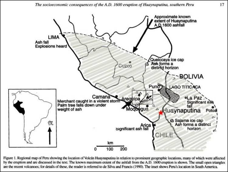 Eruption of Huaynaputina in 1600 - extended the falls of ash and cities affected - Doc. volcanohotspot.wordpress