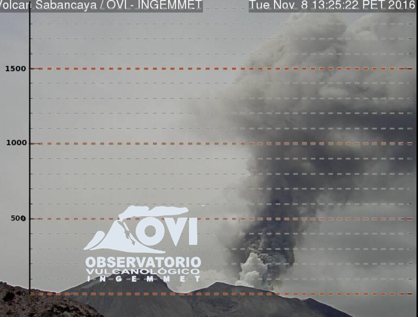 Sabancaya - the plume over 2,000 meters 11/08/2016 at 13:25 - photo OVI-INGEMMET