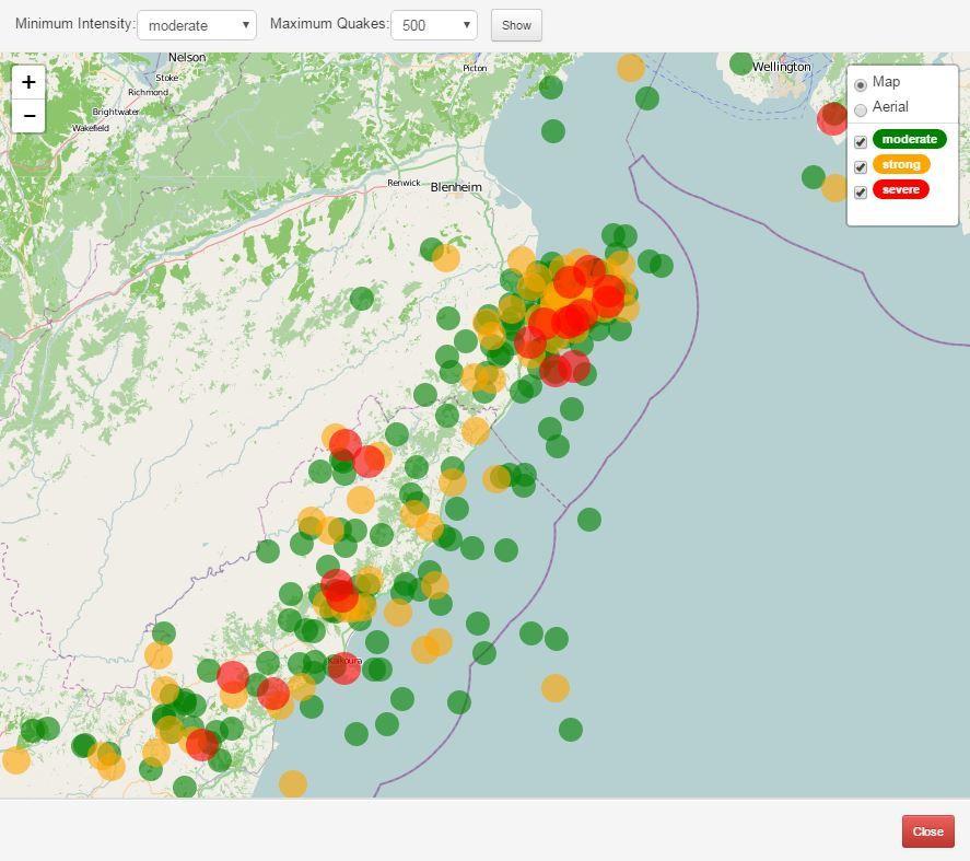 Carte des répliques et leur ressenti - 14.11.2016 - doc. GeoNet