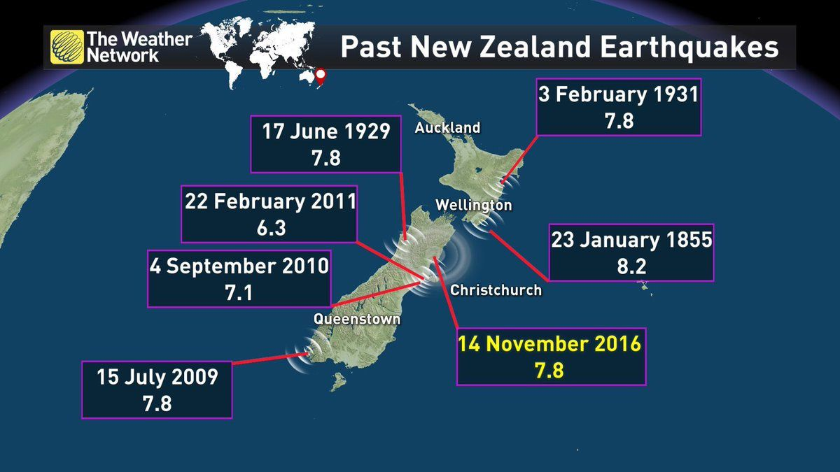 Past earthquakes in New Zealand - Doc. The Weather Network