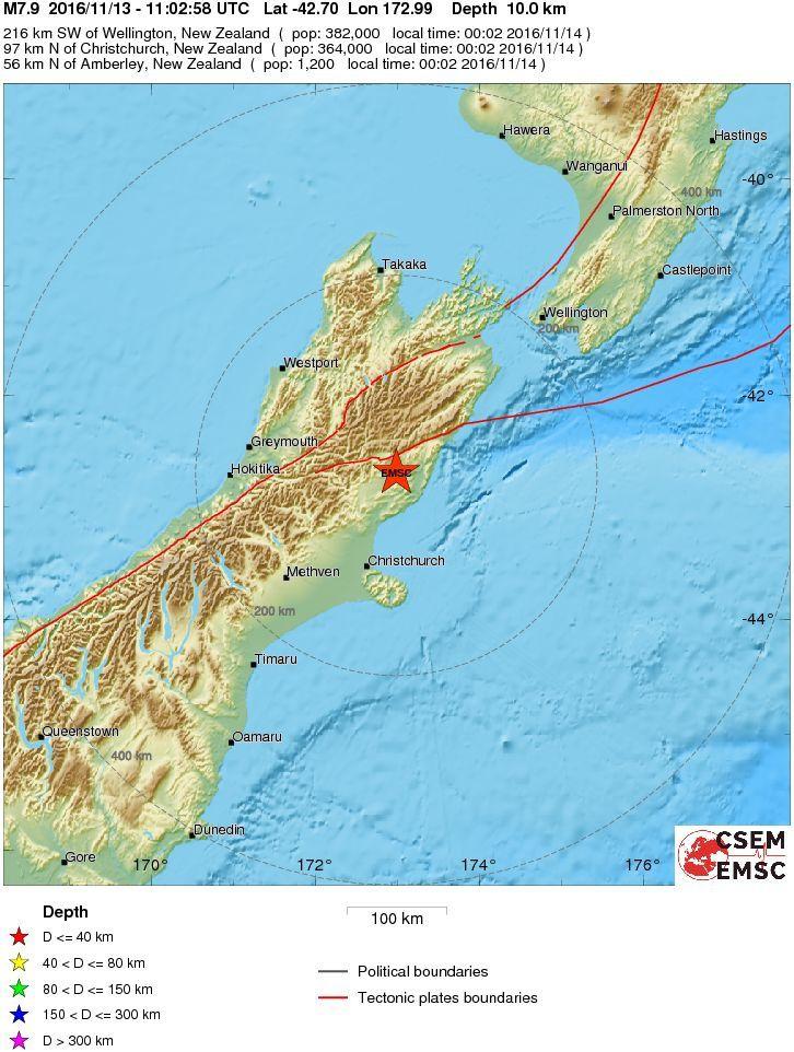Localisation du séisme primordial qui a frappé la Nouvelle-Zélande - doc. ESCM