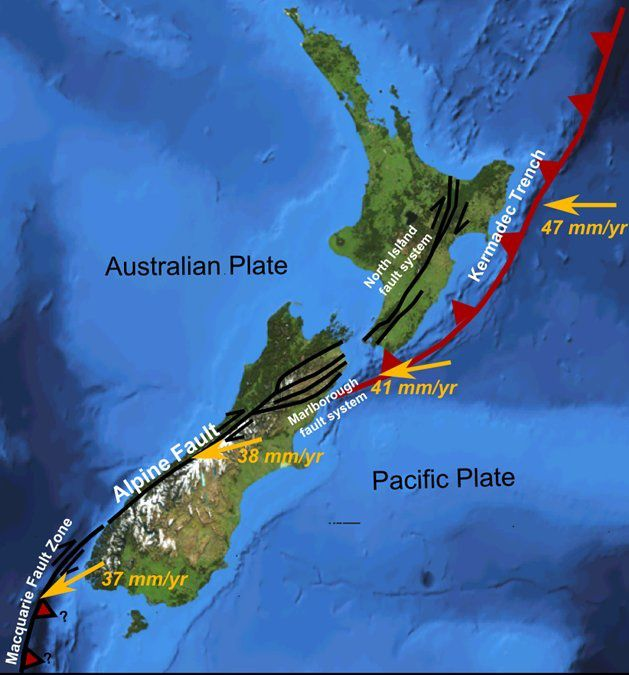 Contexte tectonique et système de failles Malborough - doc. GNS