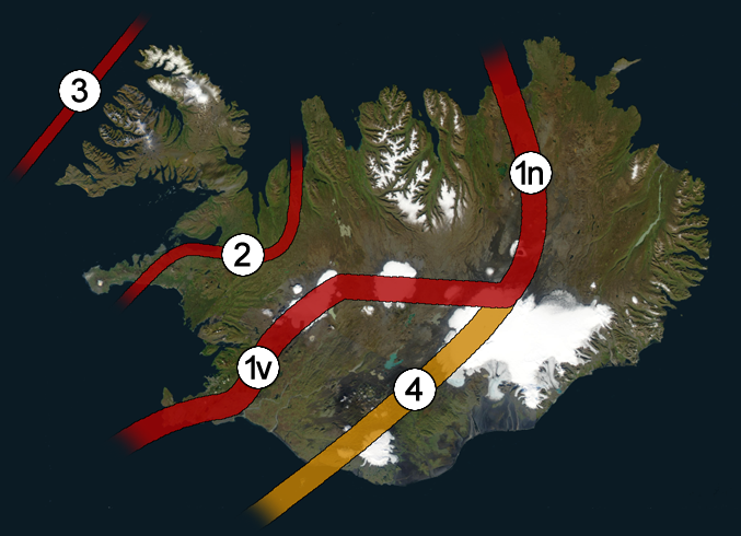 Icelandic Rift Zones - Fossil Rifts (2 & 3) and Active Rifts (1 & 4)