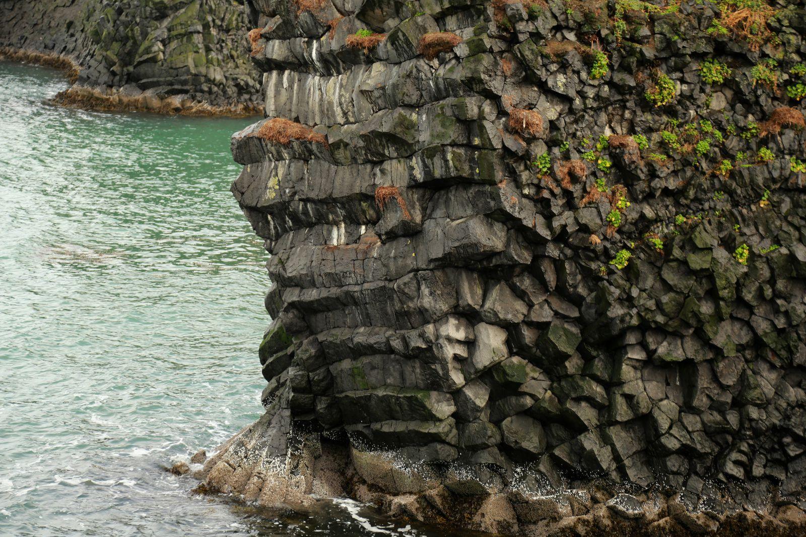 Chemin côtier Arnarstapi - Hellnar -  détails sur les orgues basaltiques - photos © Bernard Duyck 10.2016