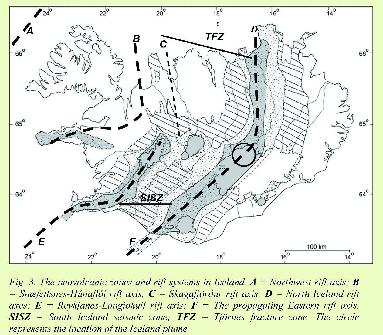 Neo-volcanic zones and rift-B systems: Snaefellsnes-Hunafloi rift axis