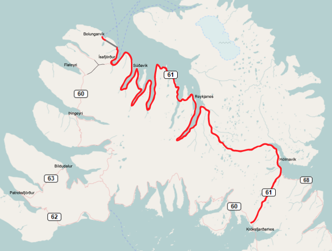 The Road 61 in Iceland marked in red, with tunnels in grey. This map was created from OpenStreetMap project data, collected by the community.