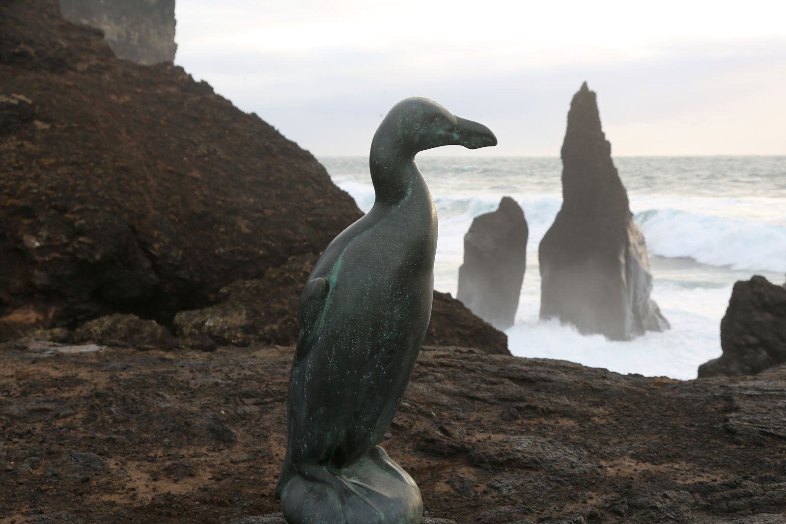 The statue of the Great Penguin contemplating the place of its disappearance, Eldey - photo © Bernard Duyck 10.2016