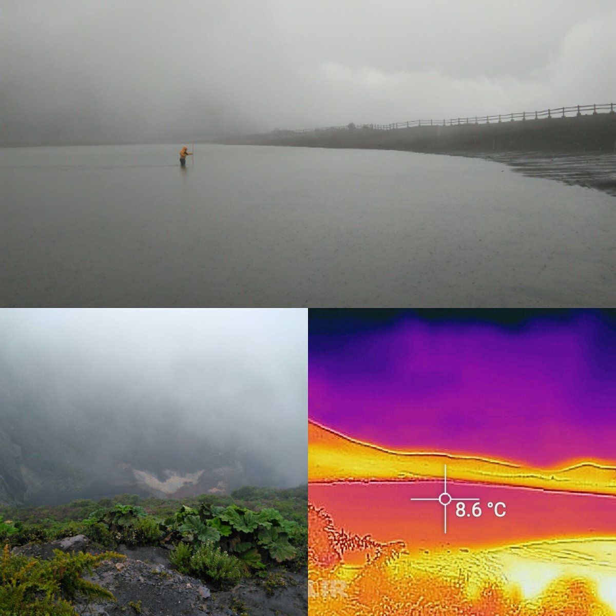 Irazu - new lake, the depth is measured by a man and its temperature by the thermal camera; Lower left, view of the main crater - doc. Gino Gonzalez-llama / Twitter