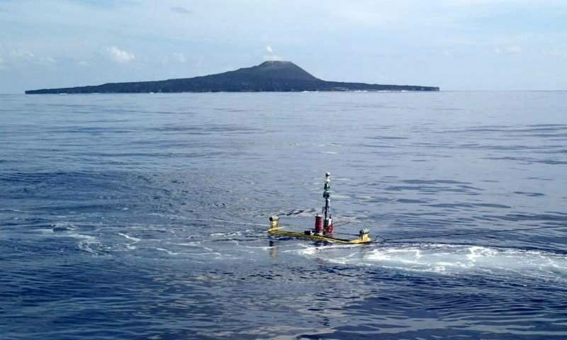 "Release of the ""waves glider"" near Nishinoshima - doc. Kobe Univ."