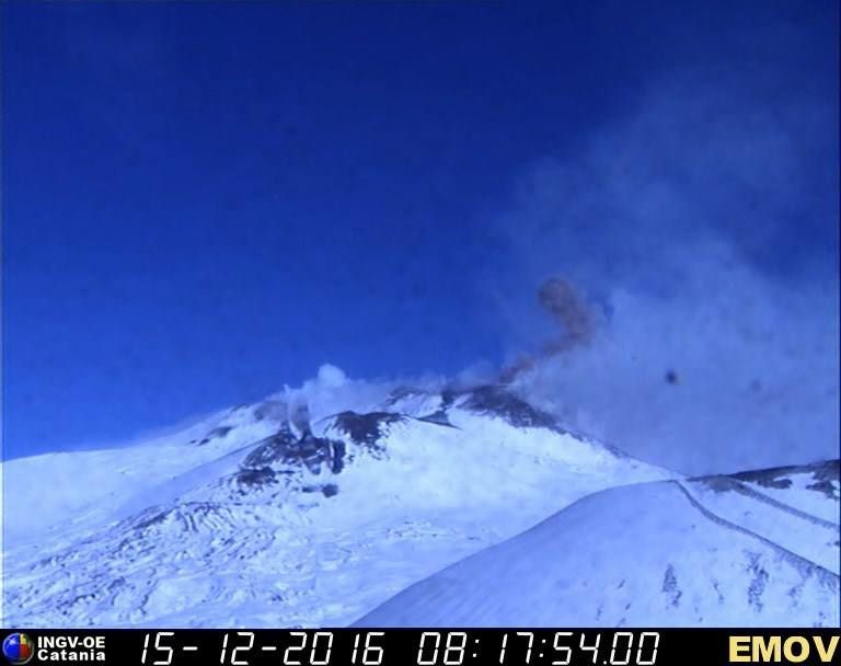 Etna - ash emission in the saddle between the south-east craters - 15.12.2016 / 8h17 - webcam INGV Catania