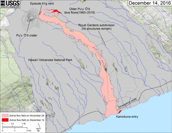 Evolution du champ de lave 61 g - carte HVO ( 1:24,000-scale USGS digital topographic map draped over the 1983 10-m digital elevation model (DEM).