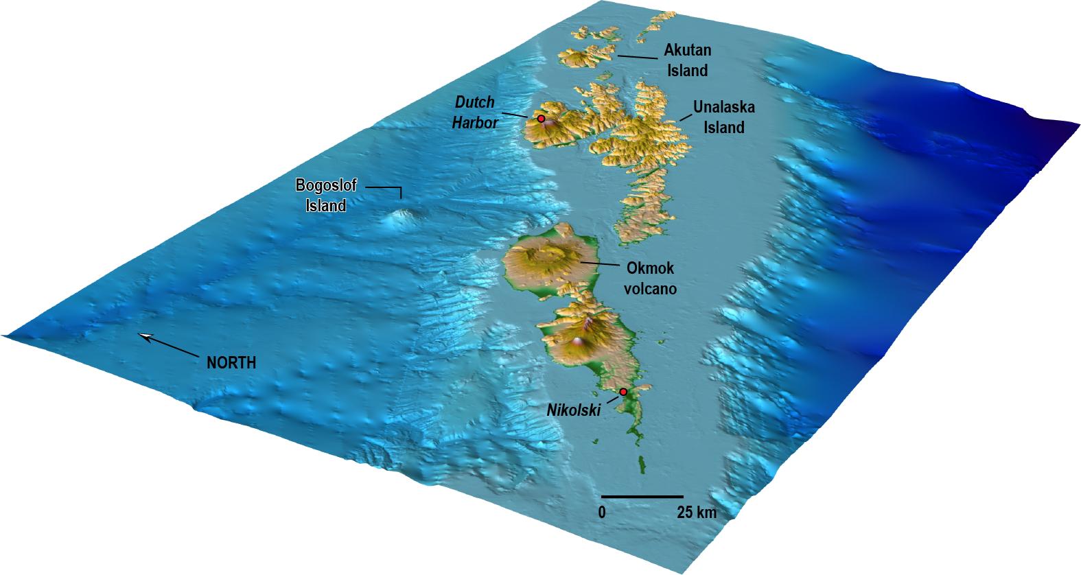 Bogoslof – modèle oblique de la localisation de Gogoslof par rapport à l'arc principal des Aléoutiennes - un clic pour agrandir – image Chris Waythomas, USGS-AVO / 12.2011