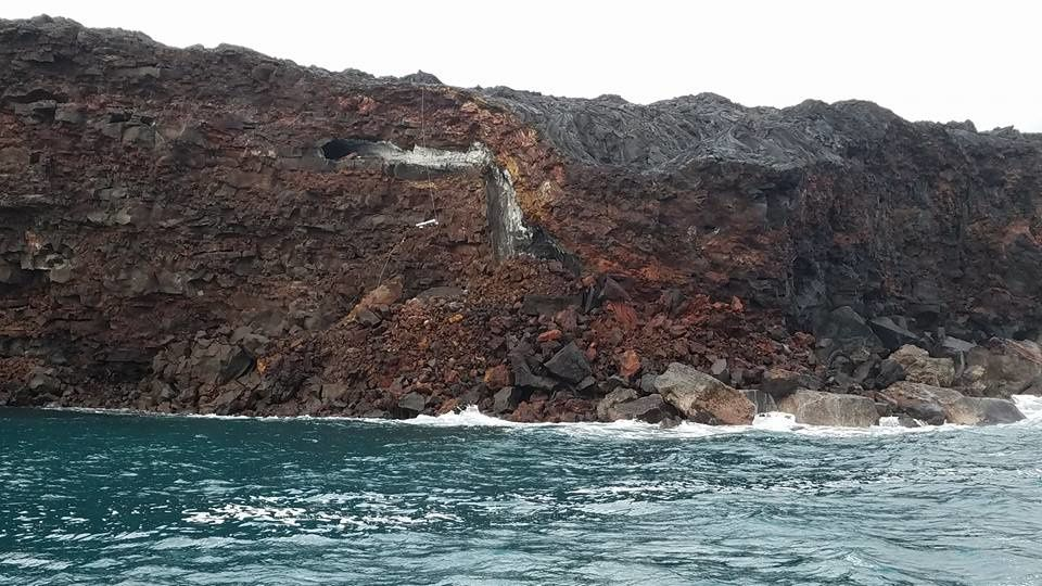 View after the collapse on a feeding tunnel - photo Lava Ocean Tours