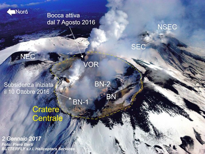 Etna activité sommitale - photo Bulletin INGV / Piero Berti / Butterfly s.r.l. Helicopter Services.- 02.01.2017