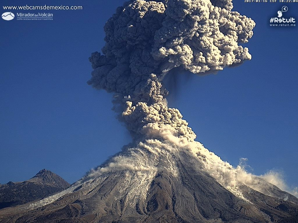 The eruptive sequence of 16.01.2017 from 10:20 to 10:25 (from top to bottom) - webcamsdeMexico