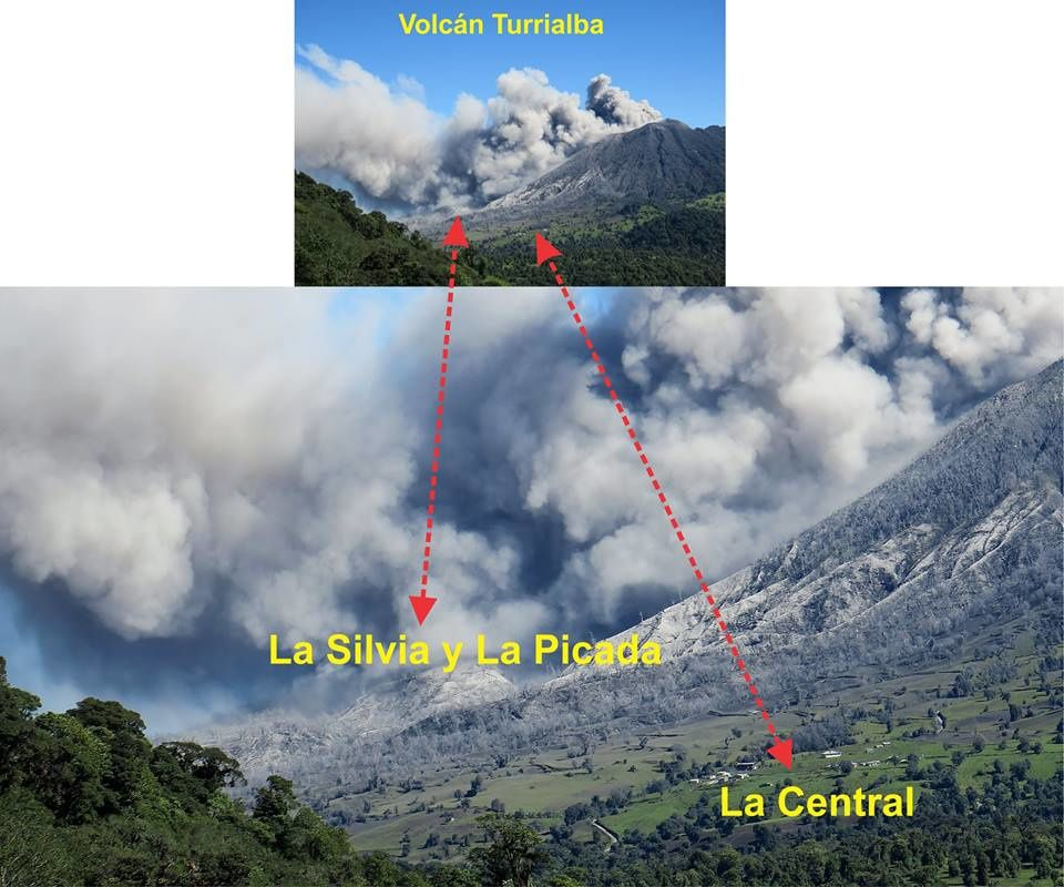 The areas of La Silvia, Picada and Central, close to the Turrialba, have become dangerous places to frequent. Photo Gino Gonzalez-llama 16.01.2017 / Twitter