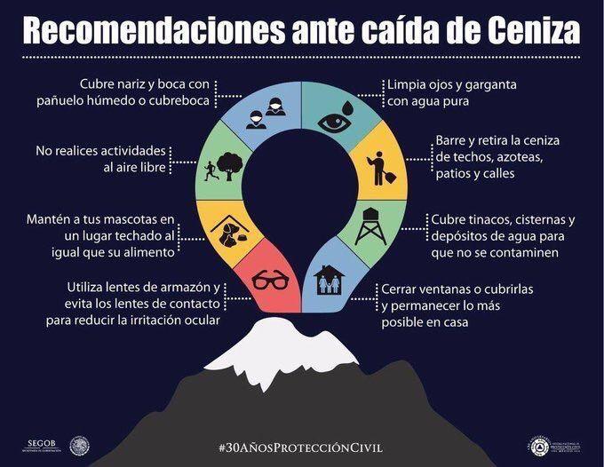 Colima - recommandations à prendre face aux cendres émises par le volcan - doc. SEGOB / Proteccion Civil / Twitter