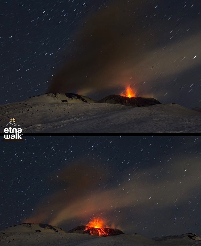Etna - strombolian activity at the Bocca Nuov and the south-east craters - photo Giuseppe Distefano / EtnaWalk 31.01.2017