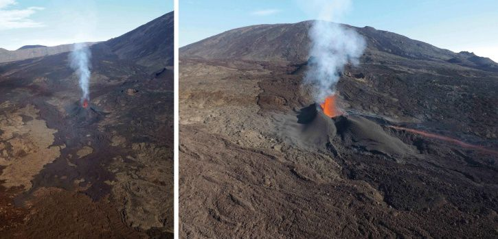 Piton de La Fournaise: The eruptive site on 01/02/2017 to 07:40, local time. (© OVPF / IPGP)
