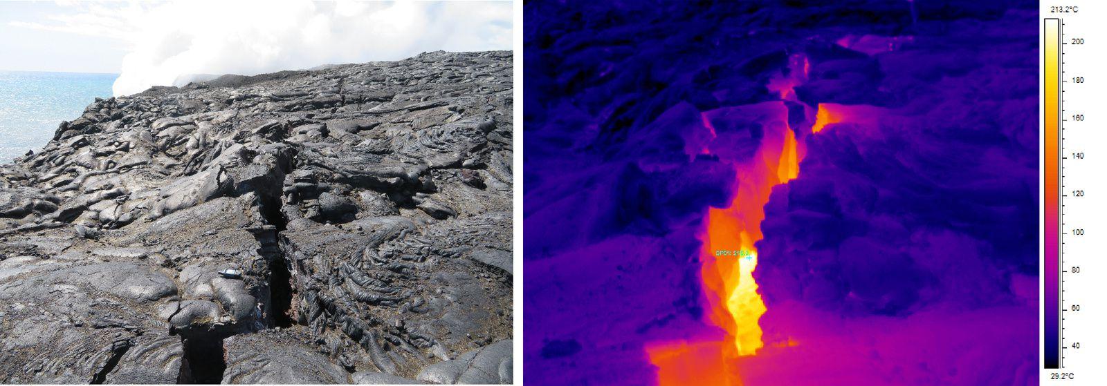Hawaii coulée 61 g - extrémité est de la fissure de la falaise ; la température mesurée à la caméra thermique avoisine le 220°C - un clic pour agrandir - doc. HVO
