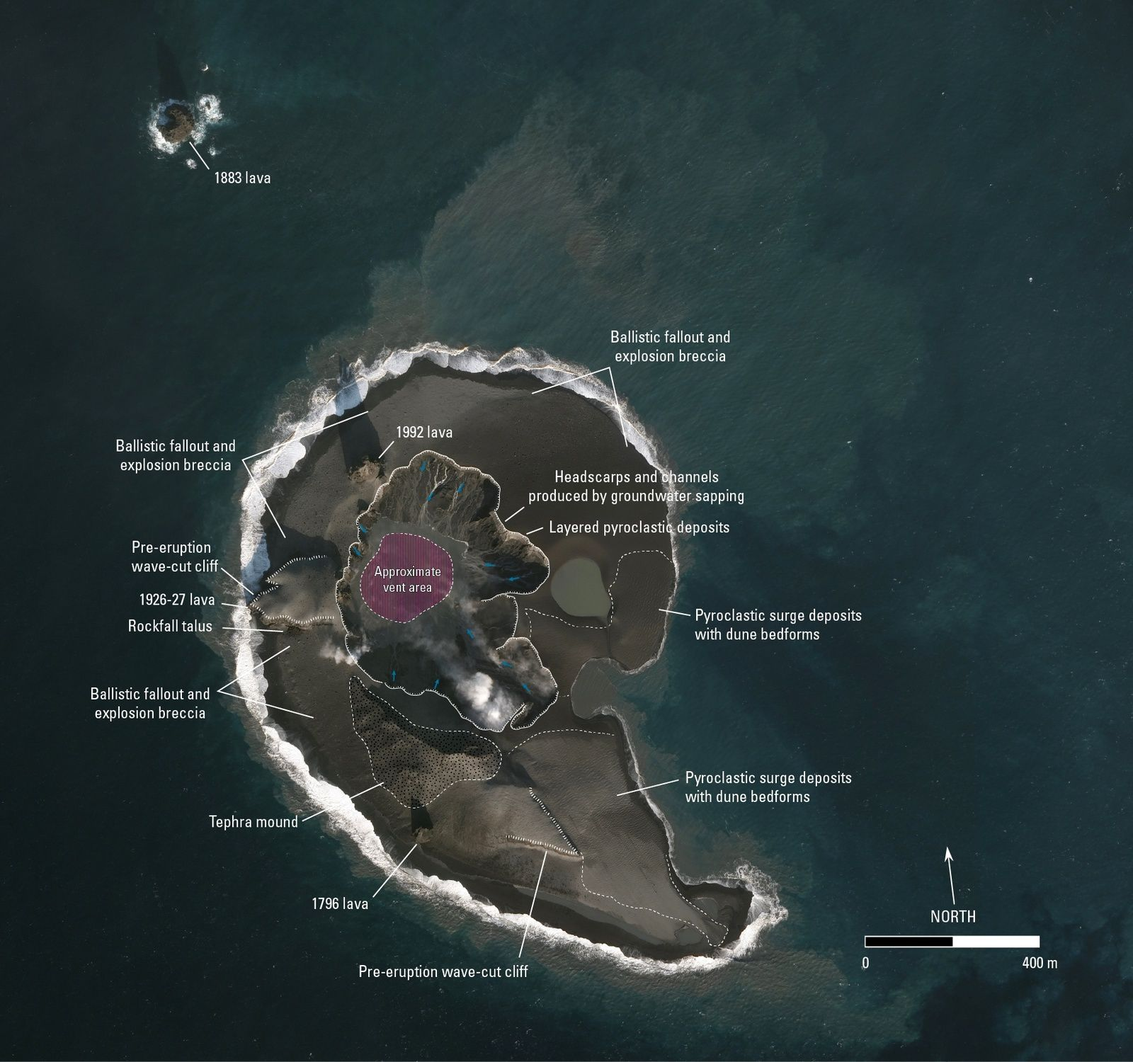 Situation of the Bogoslof after the eruption of 30-31.01.2017, annotated by Chris Waythomas / AVO