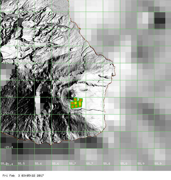 Thermal anomaly at Piton de La Fournaise: doc. Modvolc 02.02.2017