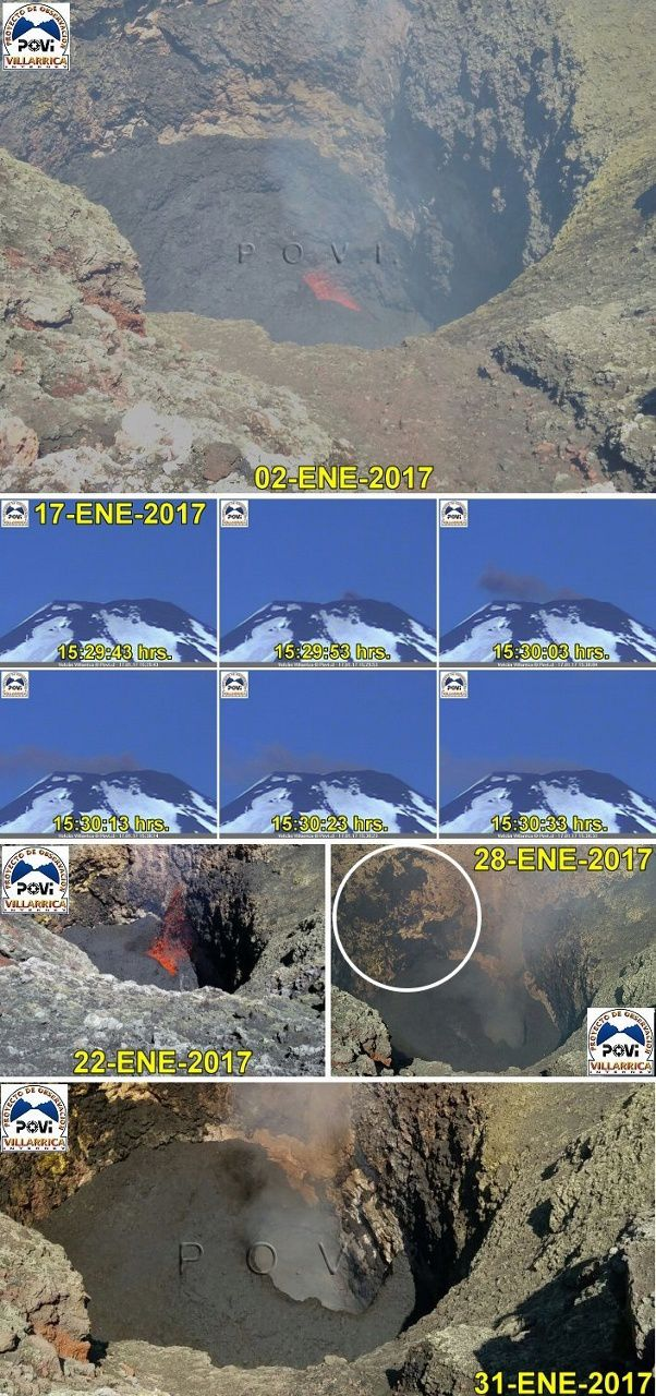 Villarica - changes since 17 January, and comparative images between beginning and end of January - doc. POVI