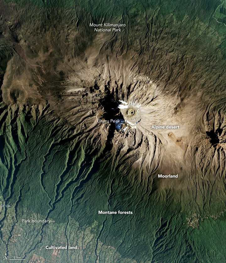 Kilimanjaro - seized by the satellite EO-1 Ali of the Nasa on 20.01.2017