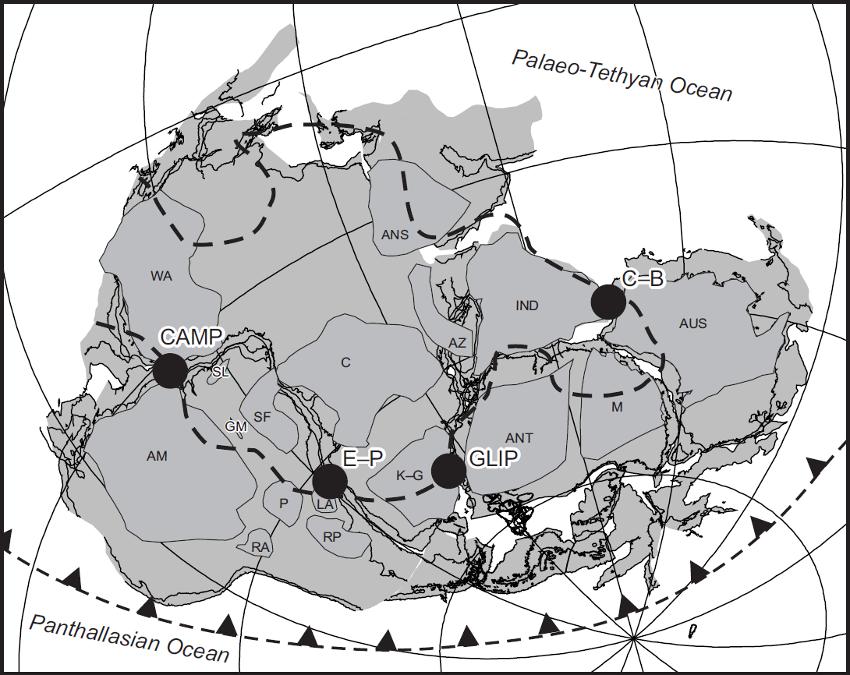 Reconstitution du Gondwana il ya 180 Ma - le bloc Australie/ Tasmanie est à droite - Gondwana reconstruction for 180 Ma (modified after Pankhurst & Vaughan 2009) showing major cratons and projected outline of the African LLSVP (heavy dashed line) from Torsvik et al. (2010). Major post-Permian large igneous province centres associated with the break-up of Gondwana are marked: CAMP – Central Atlantic Magmatic Province, 200 Ma (after Marzoli et al. 1999); GLIP – Gondwana Large Igneous Province, 180 Ma (after Storey & Kyle 1997) ; C–B – Comei–Bunbury LIP, 134 Ma (after Zhu et al. 2009); E–P – Etendeka–Paraná, 132 Ma (after Peate 1997).  Craton labels are after Pankhurst & Vaughan (2009) and are as follows: ANS – Arabian–Nubian Shield; AM – Amazonia; ANT – Antarctica; AUS – Australian cratons; AZ – Azania; C – Congo; GM – Goias Massif; IND – Indian cratons; K-G – Kalahari–Grunehogna; LA – Luis Alves; M – Mawson; P – Paraná; RA – Rio Apa; RP – Rio de la Plata; SF – Sao Francisco; SL – San Luis; WA – West Africa. - carte modifiée d'après Pankhurst & Vaughan 2009./ Large igneous provinces