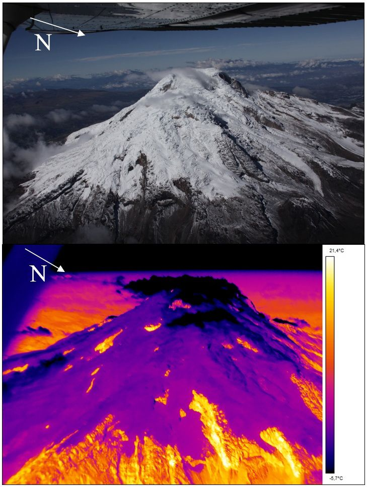 Cayambe - overview 16.01.2017 - Photo of the east side and corresponding thermal image; Note that the yellow zones correspond to rocks predominantly warmed by solar radiation - photo P.Ramon / IGEPN