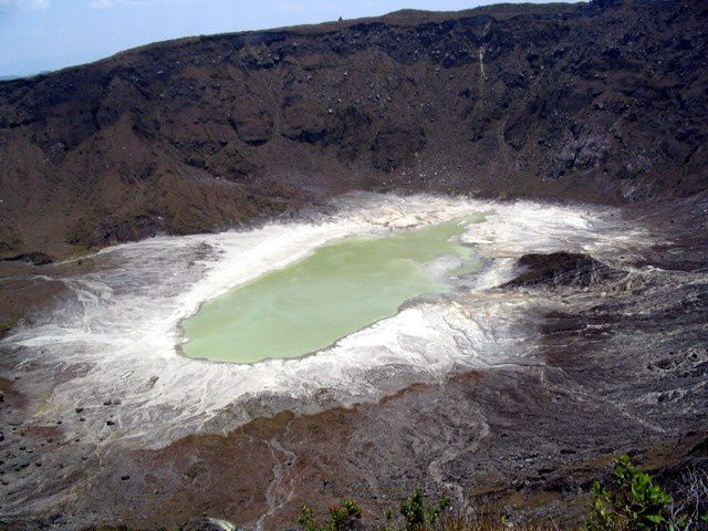 El Chichon crater and acid lake at its lowest level in 2005 - photo Courtesy of L. Rosales / GVP